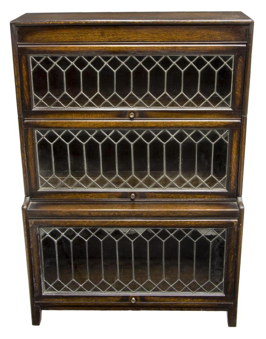 ENGLSIH THREE STACK LEADED GLASS DOOR BOOKCASE - 2