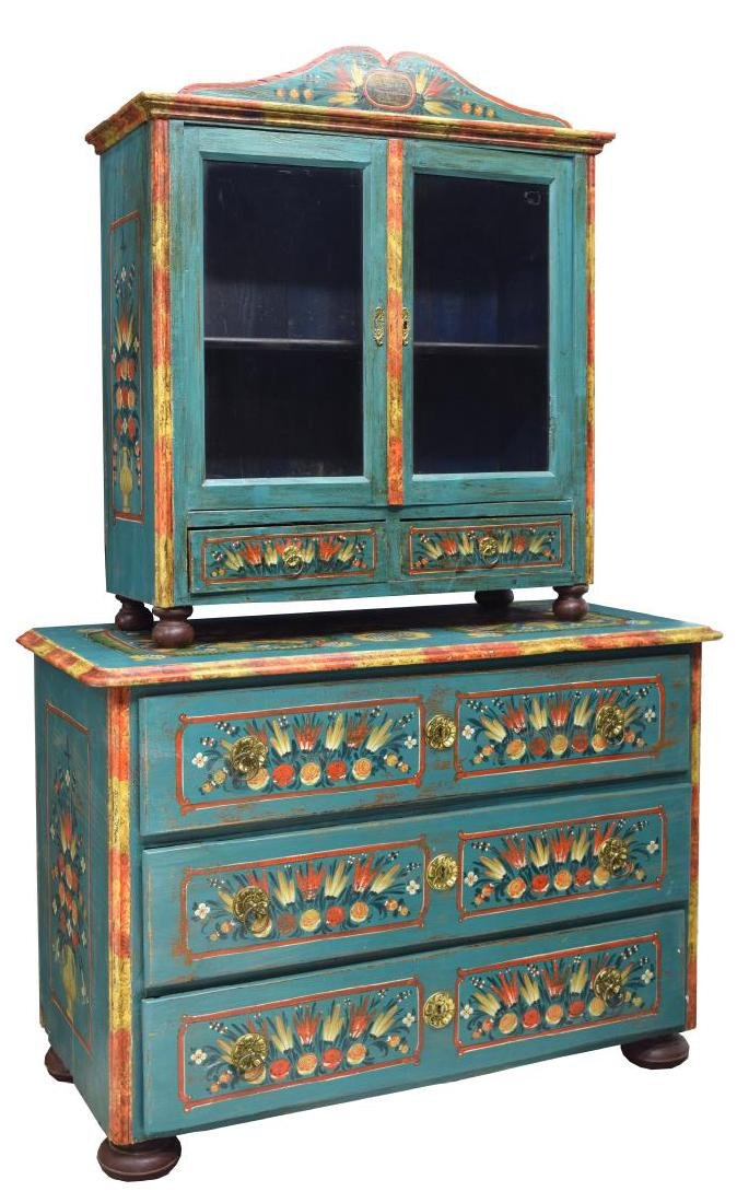 EASTERN EUROPEAN PAINTED CABINET ON CHEST