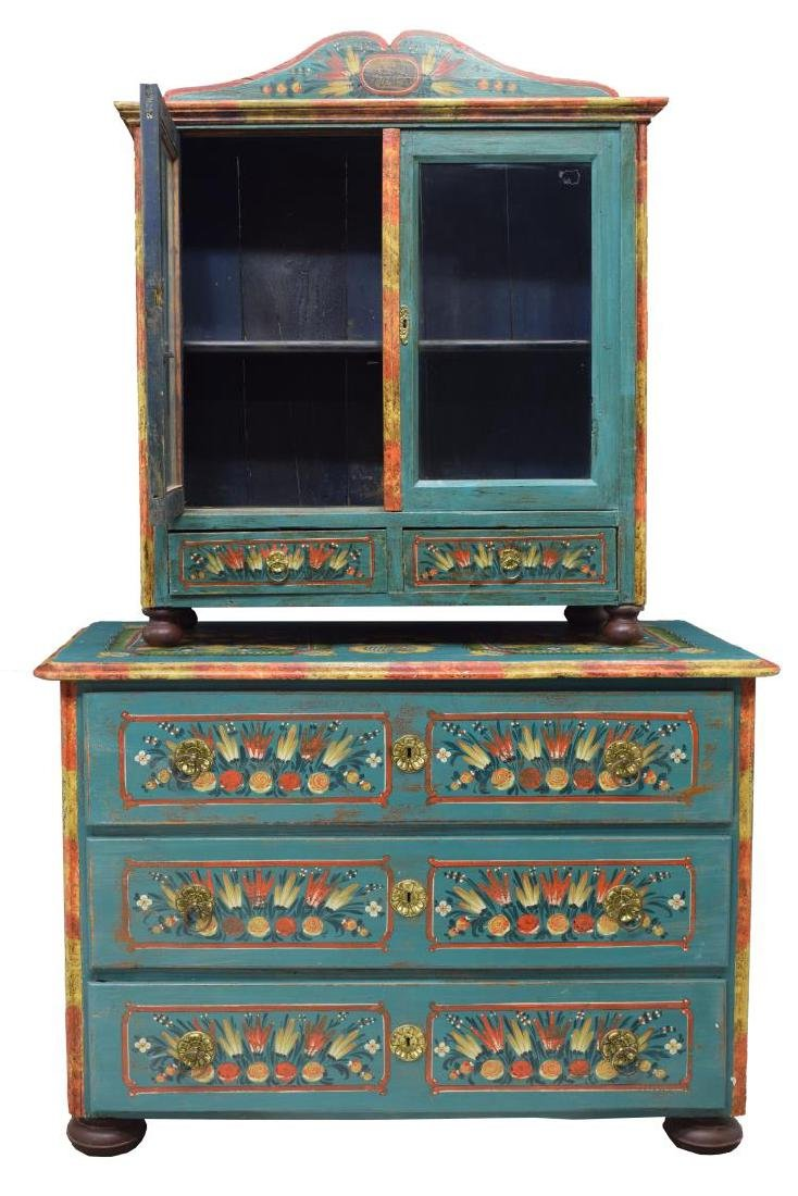 EASTERN EUROPEAN PAINTED CABINET ON CHEST - 2