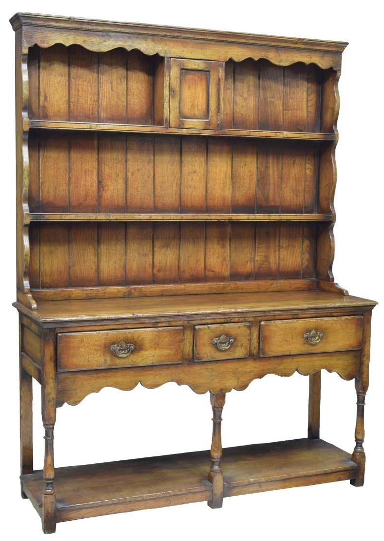 CARVED OAK WELSH CUPBOARD / SIDEBOARD