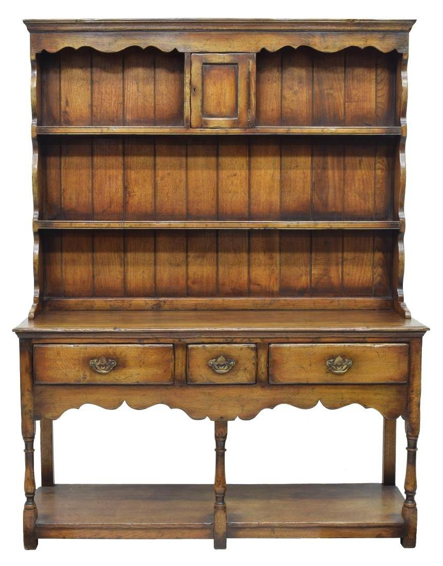 CARVED OAK WELSH CUPBOARD / SIDEBOARD - 2