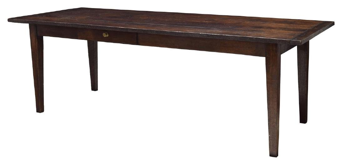 LARGE ENGLISH OAK PLANK TOP REFECTORY TABLE