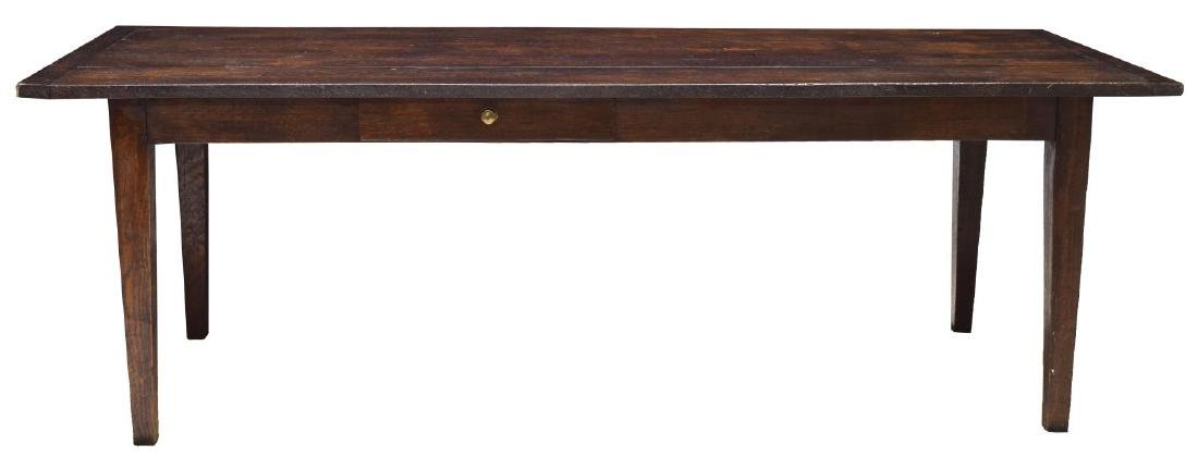 LARGE ENGLISH OAK PLANK TOP REFECTORY TABLE - 2