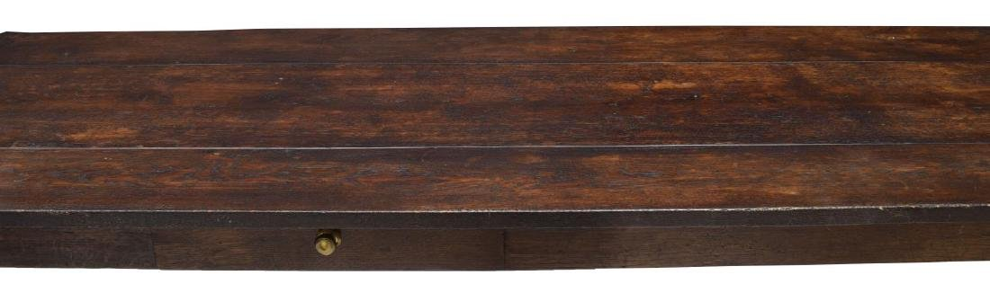 LARGE ENGLISH OAK PLANK TOP REFECTORY TABLE - 3
