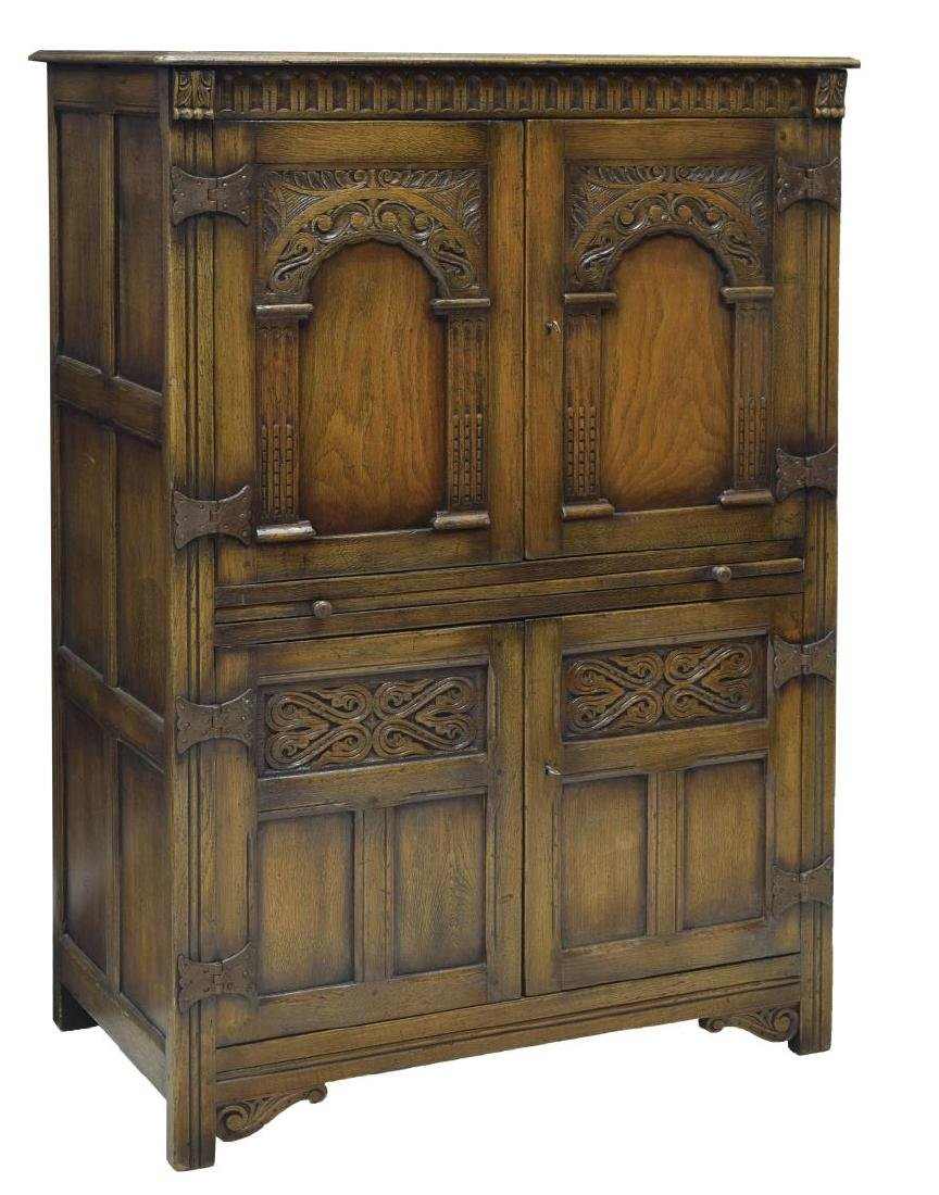 ENGLISH CARVED OAK DRINKS CABINET