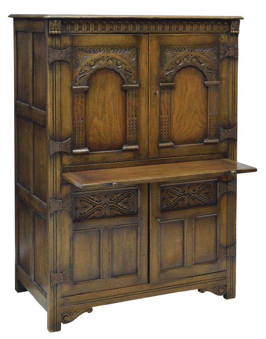 ENGLISH CARVED OAK DRINKS CABINET - 2