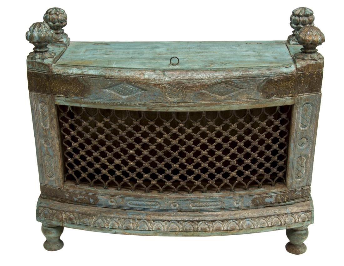 COLONIAL CARVED TEAKWOOD & IRON LIFT TOP CHEST