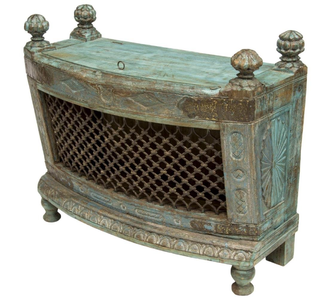 COLONIAL CARVED TEAKWOOD & IRON LIFT TOP CHEST - 2