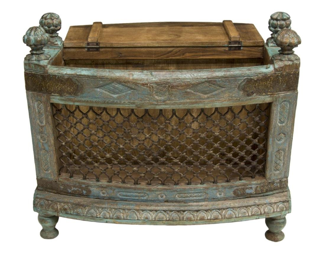 COLONIAL CARVED TEAKWOOD & IRON LIFT TOP CHEST - 3