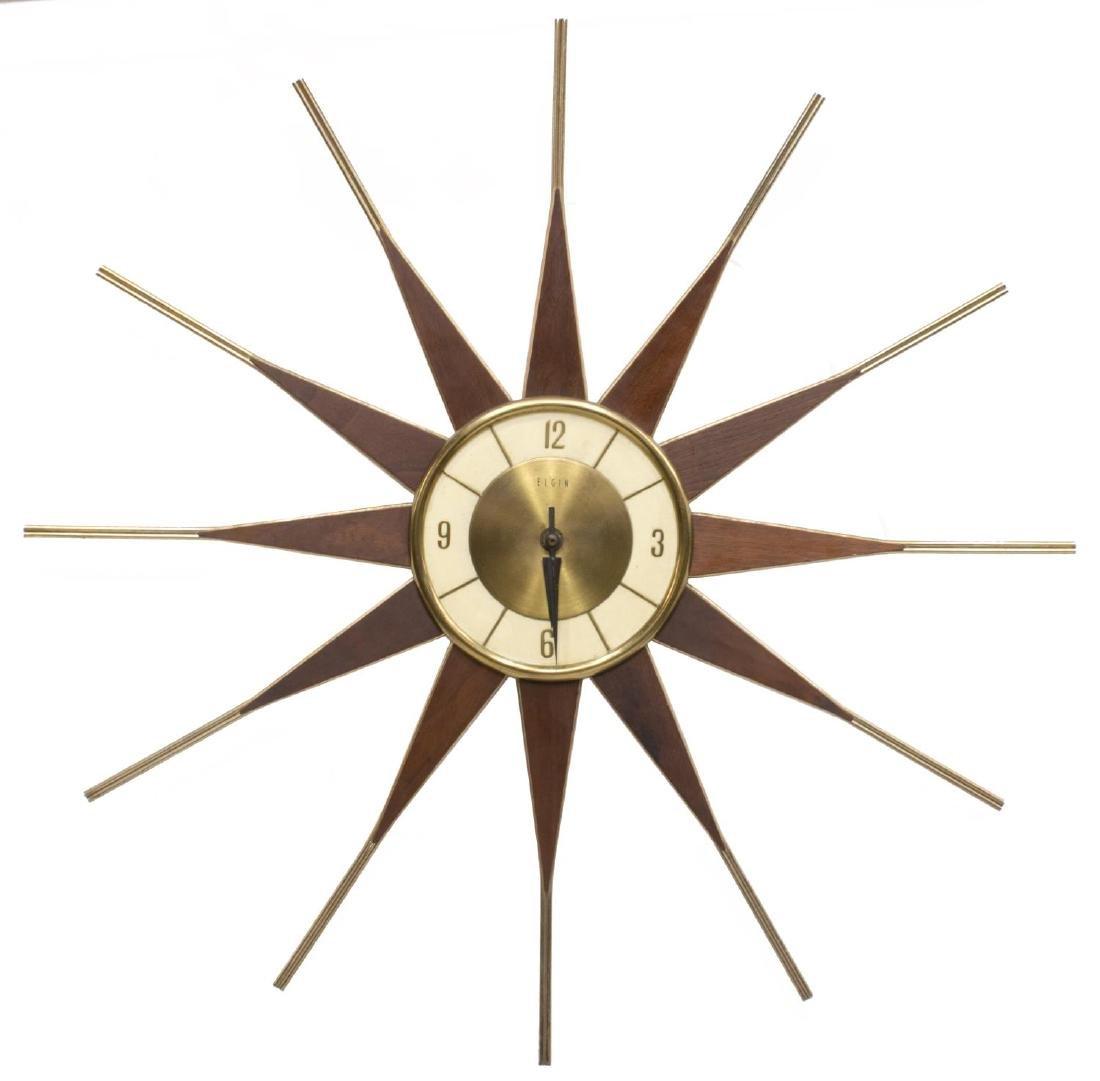 ELGIN MID-CENTURY MODERN SUNBURST CLOCK