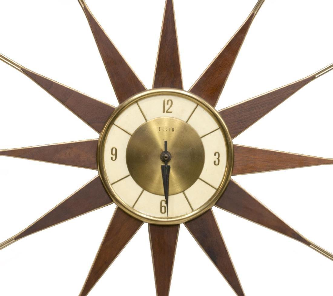 ELGIN MID-CENTURY MODERN SUNBURST CLOCK - 2