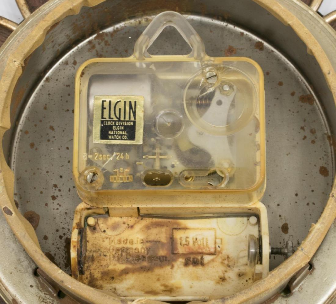ELGIN MID-CENTURY MODERN SUNBURST CLOCK - 3