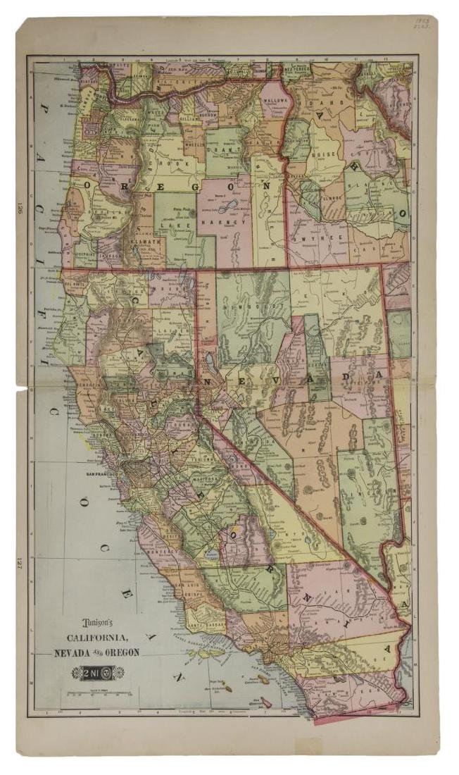 TUNISON'S MAP OF CALIFORNIA, NEVADA, OREGON