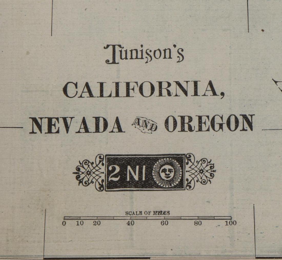 TUNISON'S MAP OF CALIFORNIA, NEVADA, OREGON - 3