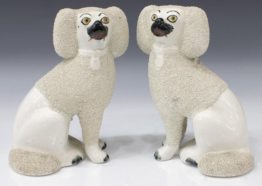 ENGLISH STAFFORDSHIRE MANTLE FIGURES POODLE DOGS