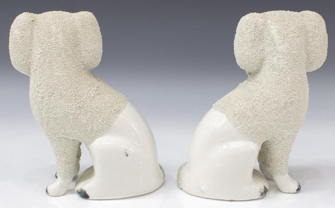 ENGLISH STAFFORDSHIRE MANTLE FIGURES POODLE DOGS - 2