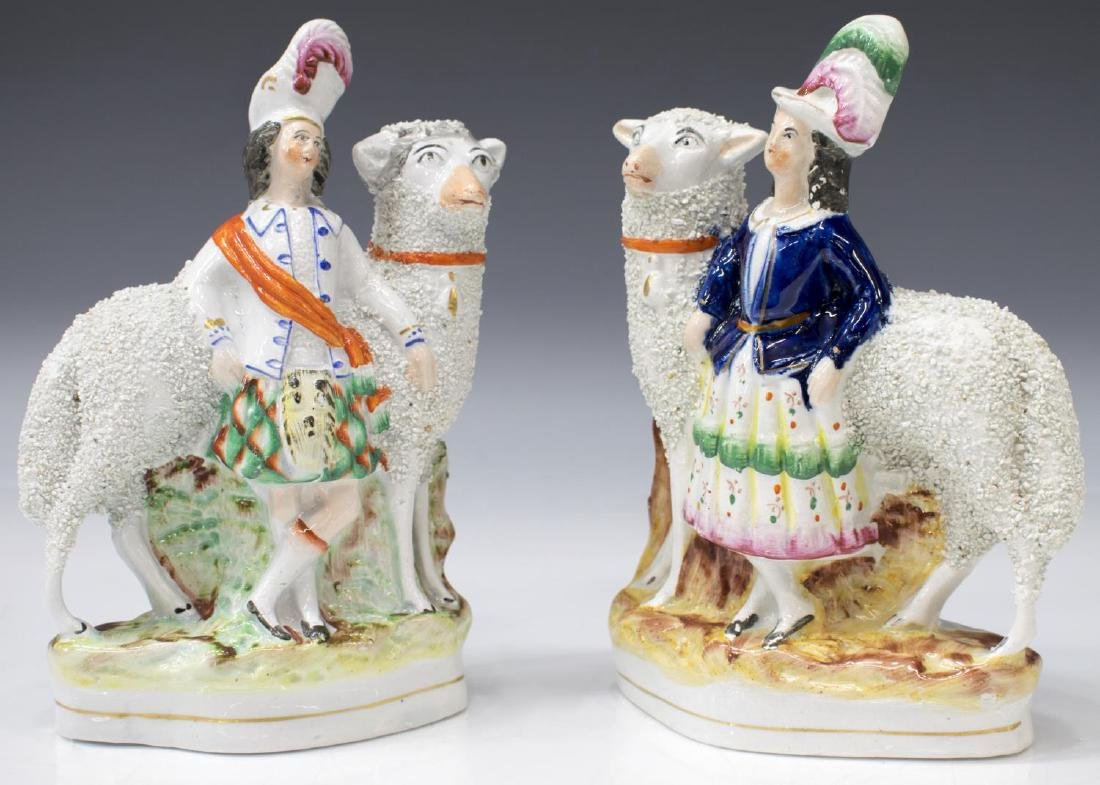 (2) STAFFORDSHIRE FIGURES, SCOTTISH COUPLE & SHEEP