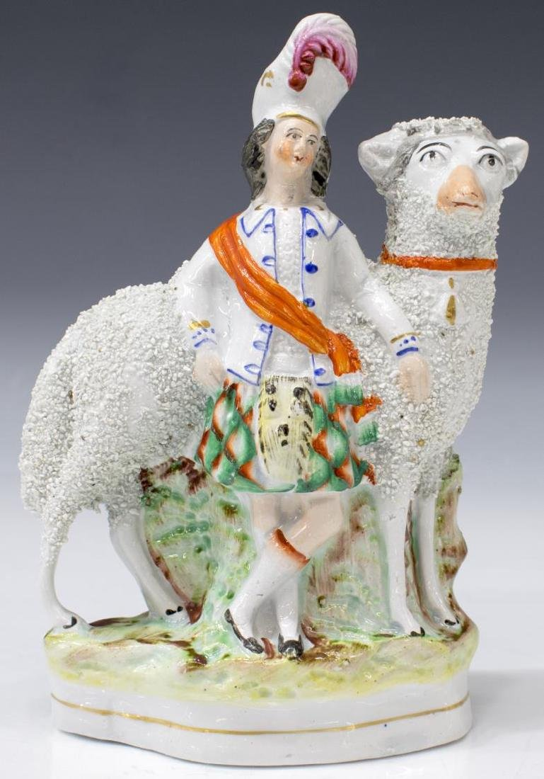 (2) STAFFORDSHIRE FIGURES, SCOTTISH COUPLE & SHEEP - 2