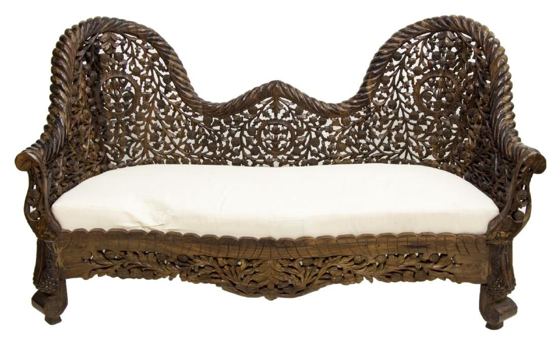 ANGLO-INDIAN HIGHLY CARVED TEAKWOOD SOFA - 2