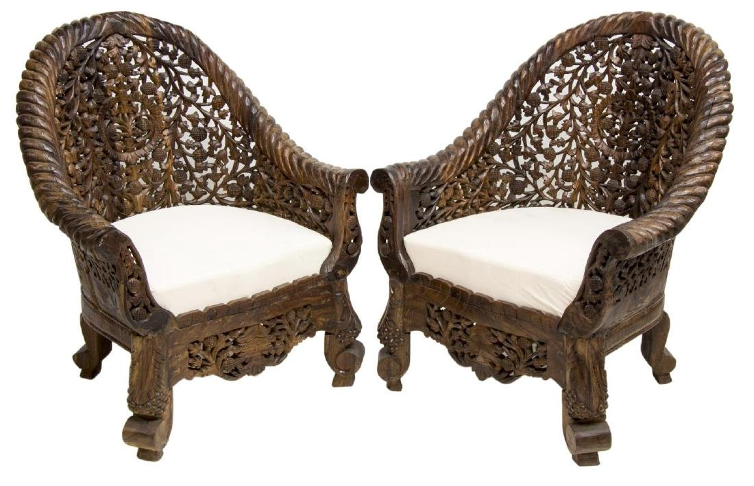 (PAIR) CARVED PIERCED ANGLO-INDIAN TEAK ARMCHAIRS