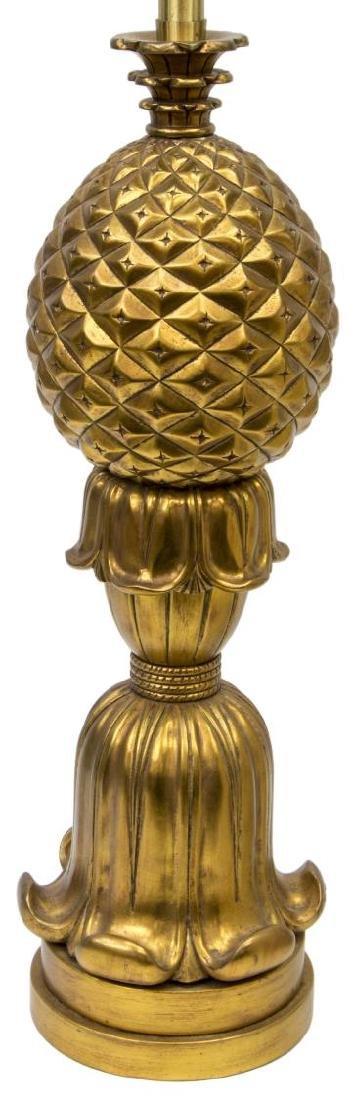 MONUMENTAL GILT PINEAPPLE SHAPED 2LT TABLE LAMP