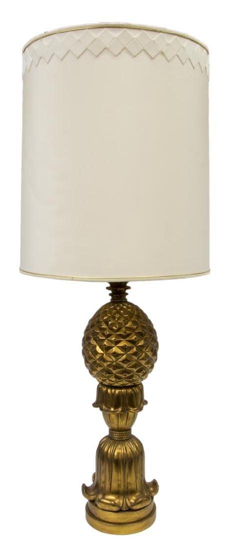 MONUMENTAL GILT PINEAPPLE SHAPED 2LT TABLE LAMP - 2