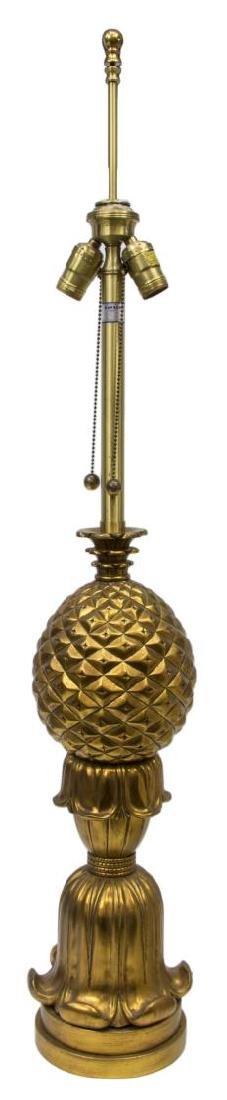 MONUMENTAL GILT PINEAPPLE SHAPED 2LT TABLE LAMP - 3