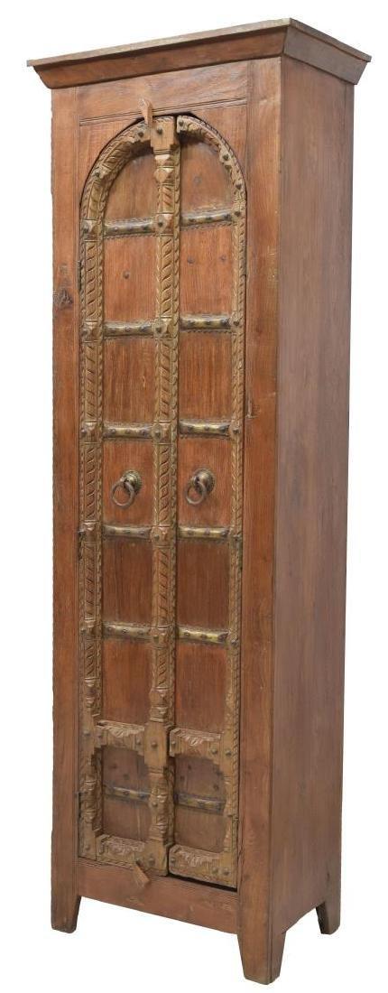 TALL TEAKWOOD TWO DOOR STORAGE CABINET
