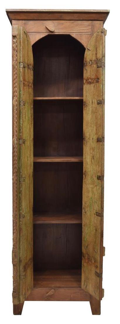 TALL TEAKWOOD TWO DOOR STORAGE CABINET - 2