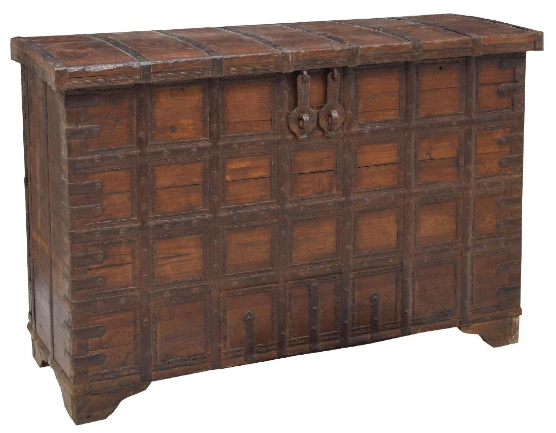 IRON BOUND TEAKWOOD STANDING STORAGE CHEST TRUNK