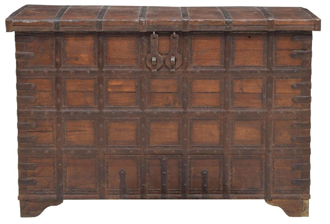 IRON BOUND TEAKWOOD STANDING STORAGE CHEST TRUNK - 2