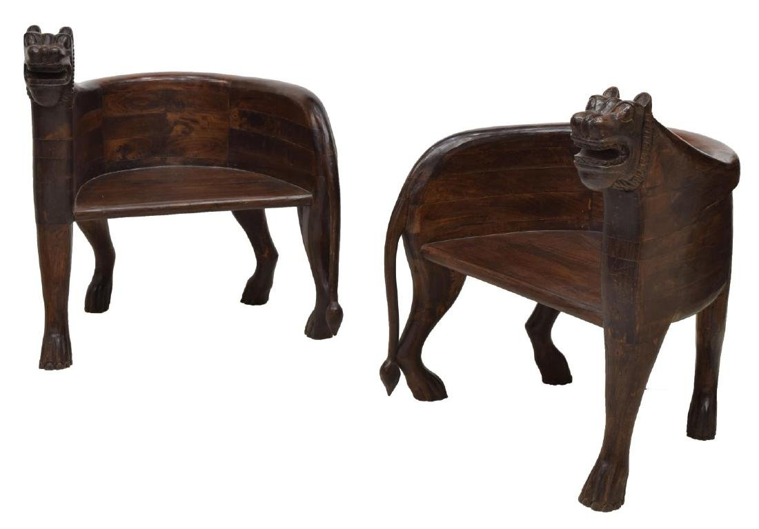 (2) CARVED FIGURAL FULL-BODY TEAK LEOPARD CHAIRS