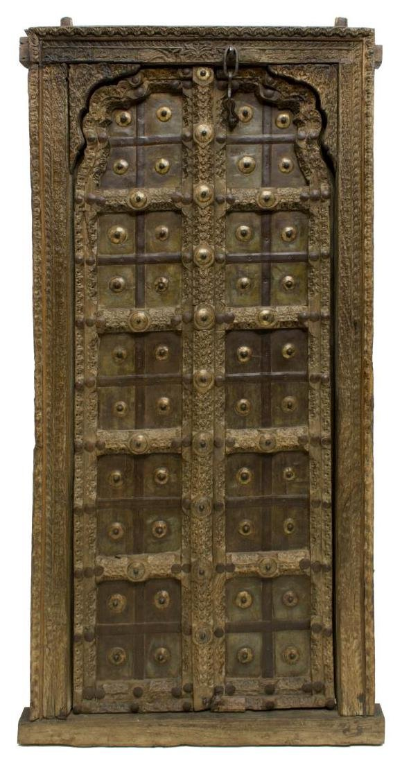 ANTIQUE CARVED TEAKWOOD IRON ACCENTED DOOR