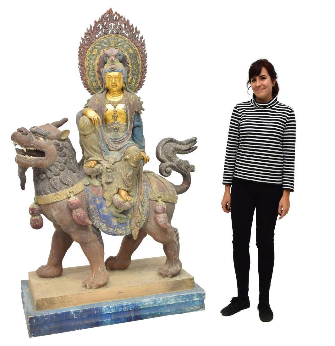 MONUMENTAL CARVED PARCEL GILT KWAN-YIN STATUE - 2
