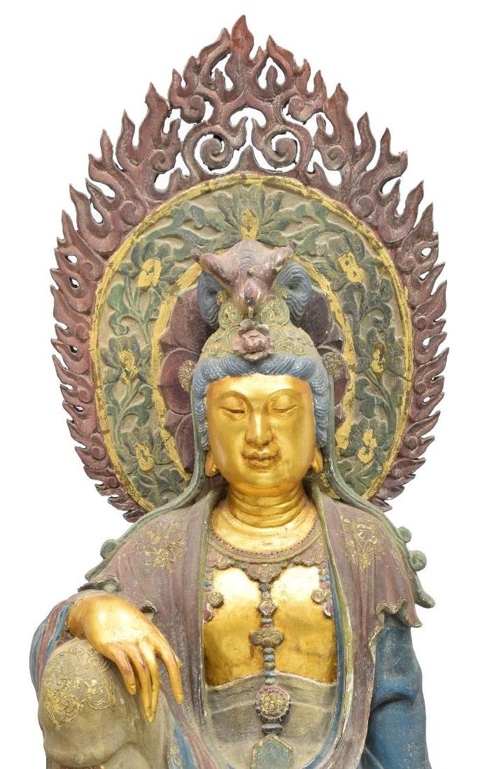 MONUMENTAL CARVED PARCEL GILT KWAN-YIN STATUE - 3