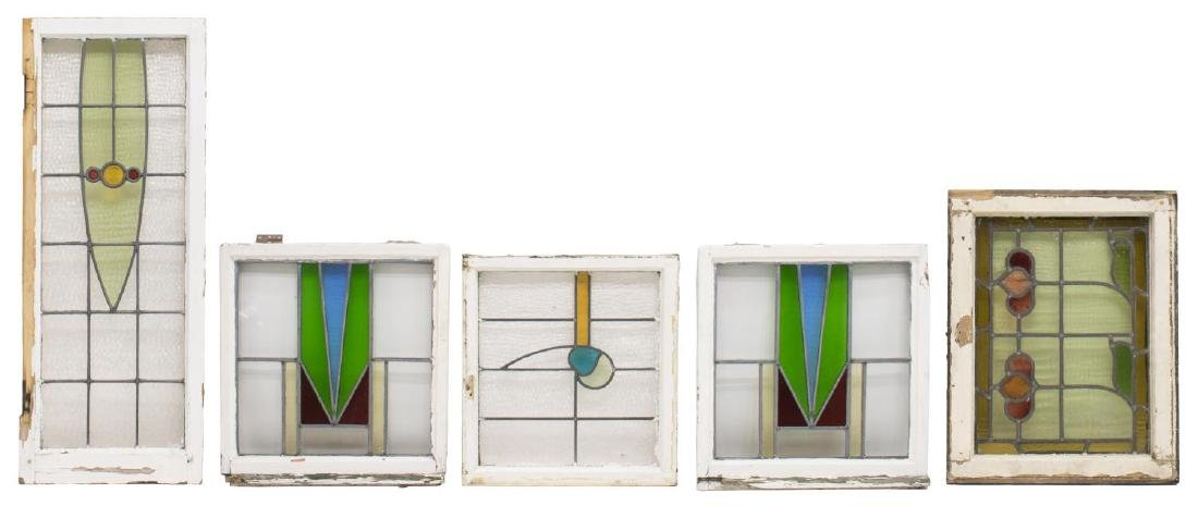 (5) ENGLISH STAINED LEADED GLASS WINDOWS