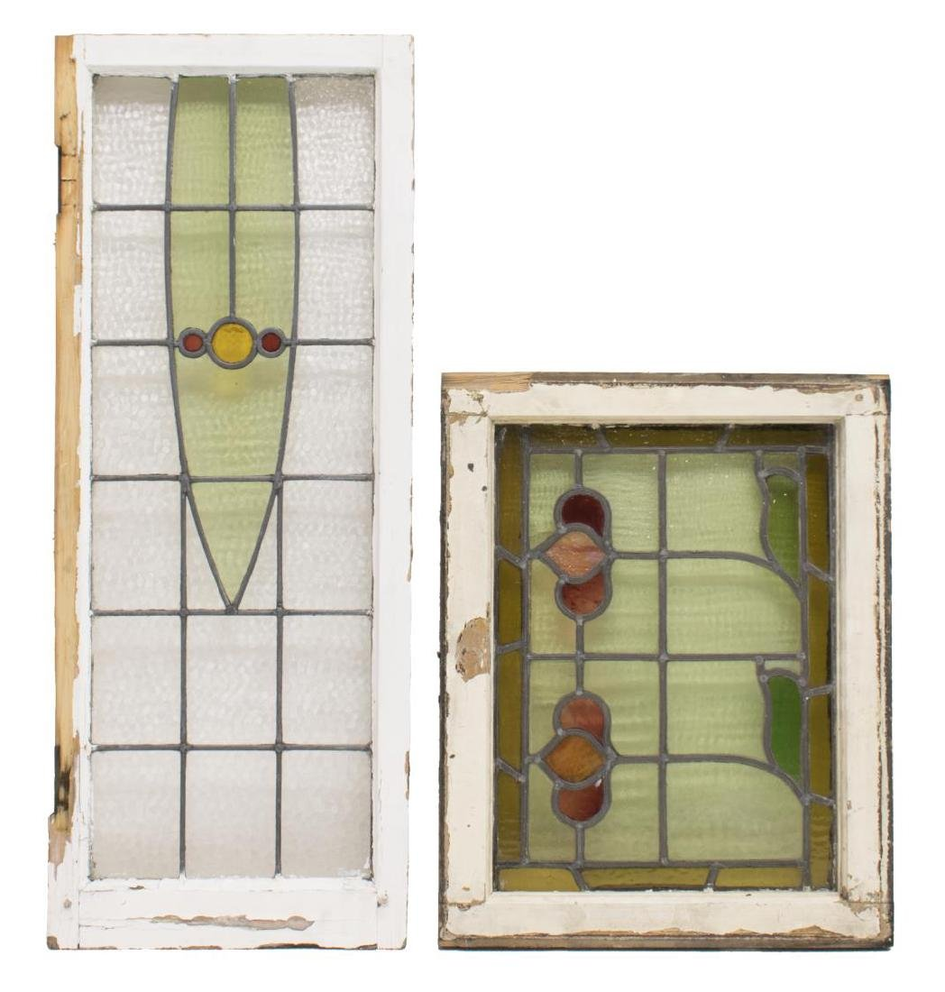 (5) ENGLISH STAINED LEADED GLASS WINDOWS - 3