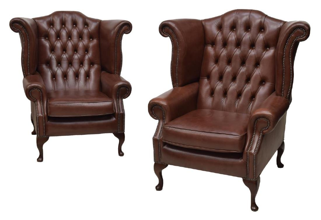 (2)CHESTERFIELD LEATHER QUEEN ANNE WINGBACK CHAIRS
