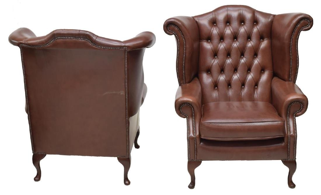 (2)CHESTERFIELD LEATHER QUEEN ANNE WINGBACK CHAIRS - 2