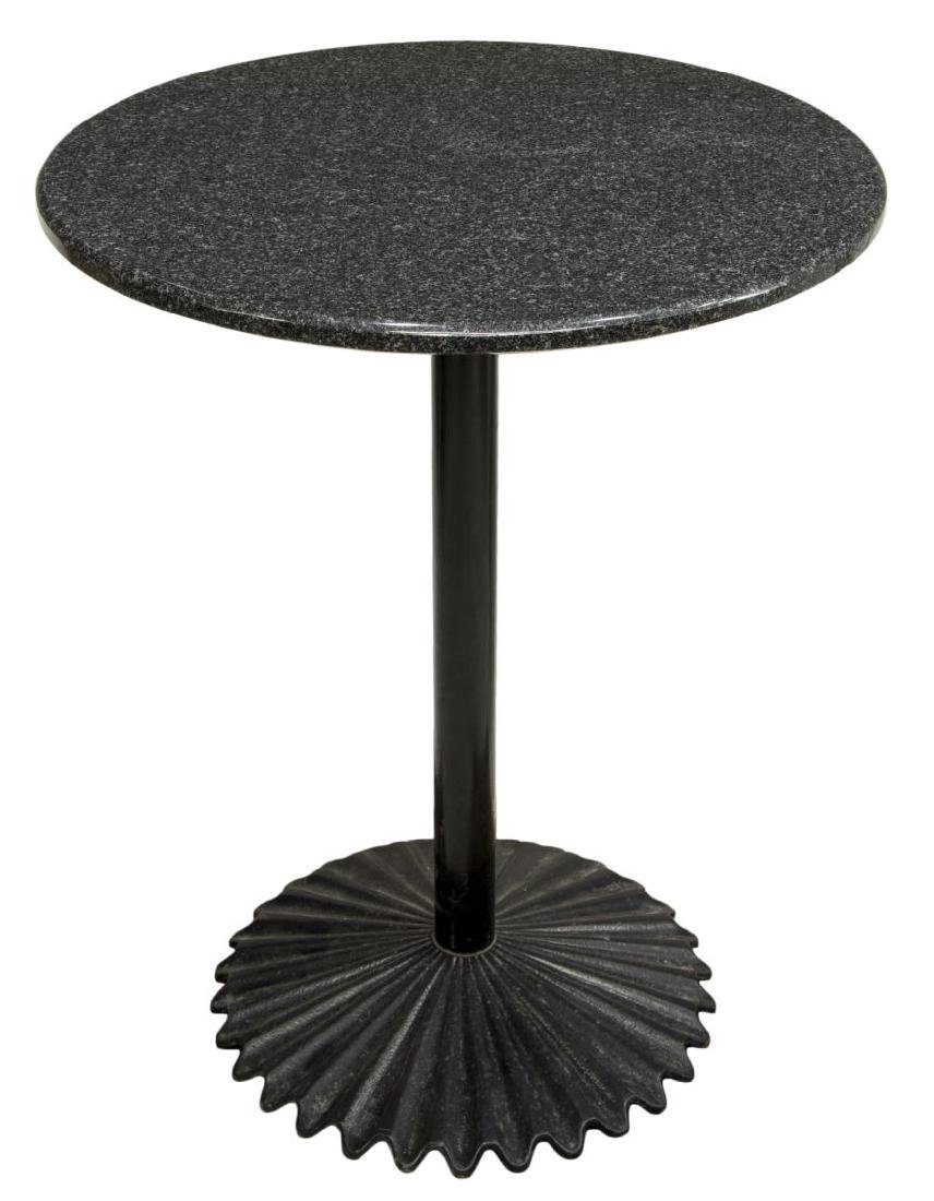 MARBLE TOP METAL BASE CAFE/PUB TABLE