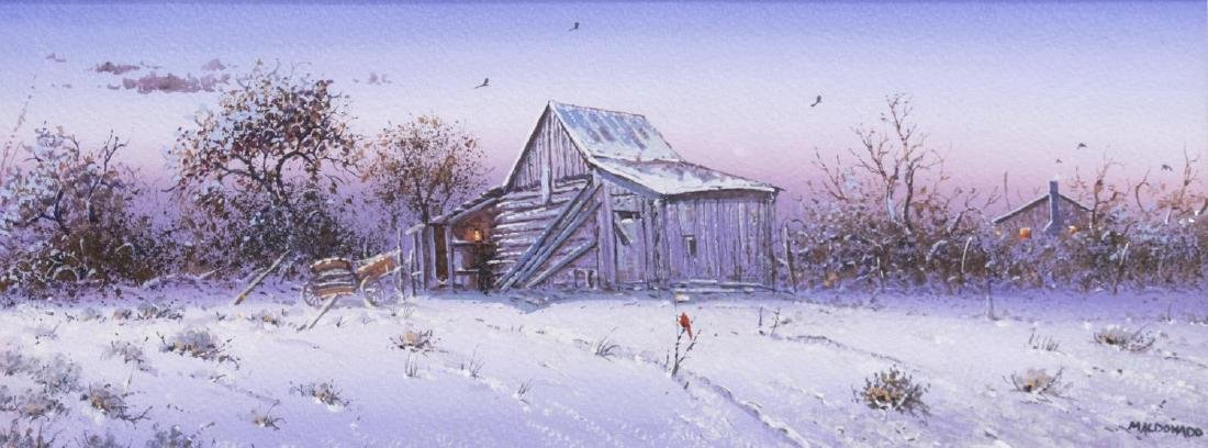 DANIEL MALDONADO (TEXAS) TEXAS BARN IN WINTER