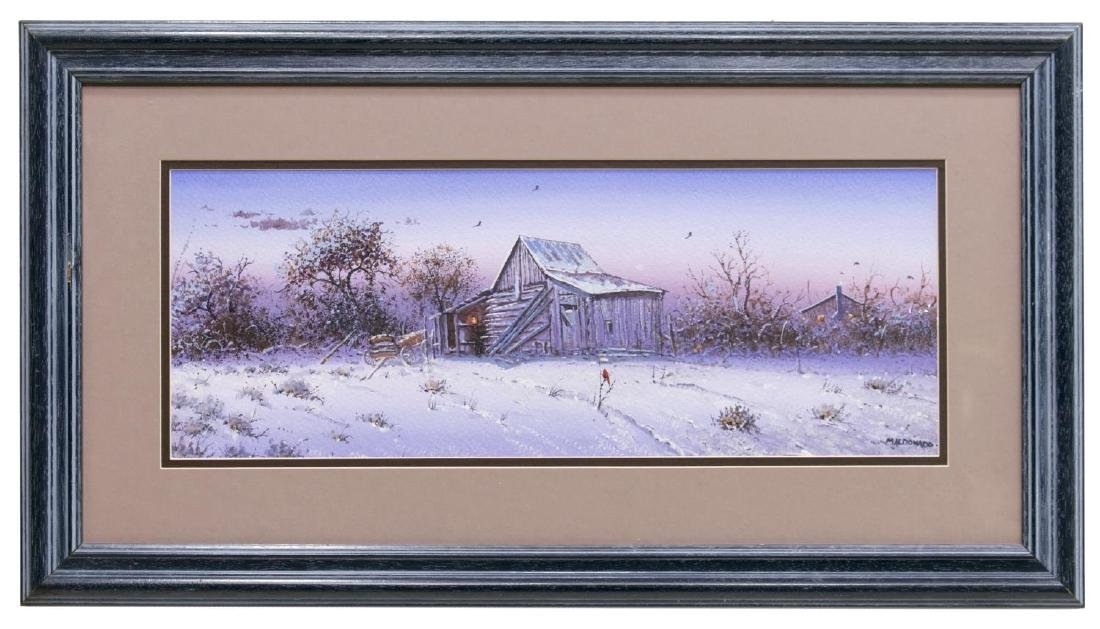 DANIEL MALDONADO (TEXAS) TEXAS BARN IN WINTER - 2