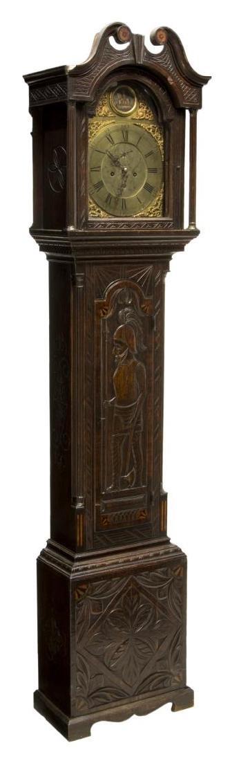 GEORGIAN CARVED OAK GRANDFATHER CLOCK, C. 1780
