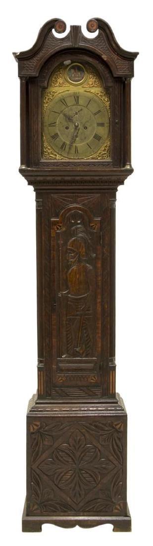 GEORGIAN CARVED OAK GRANDFATHER CLOCK, C. 1780 - 2