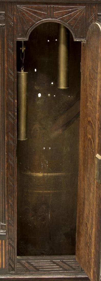 GEORGIAN CARVED OAK GRANDFATHER CLOCK, C. 1780 - 5