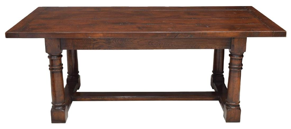ENGLISH PLANK TOP REFECTORY TABLE STRETCHER BASE - 2