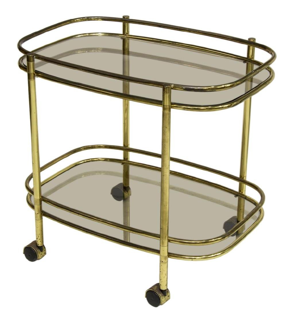 ITALIAN MODERN GILT BRASS SMOKED GLASS BAR CART
