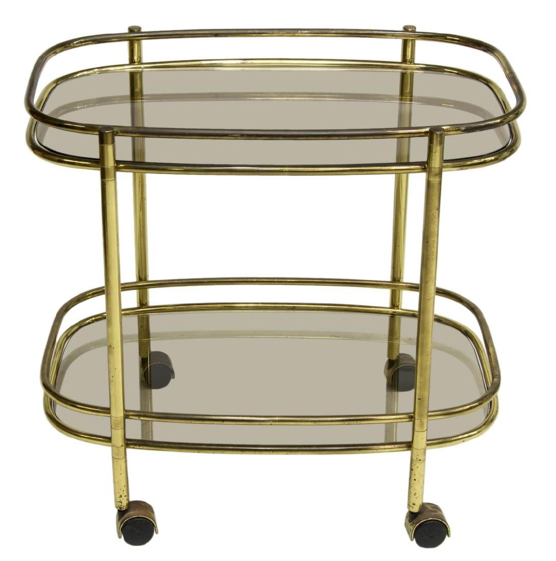 ITALIAN MODERN GILT BRASS SMOKED GLASS BAR CART - 2