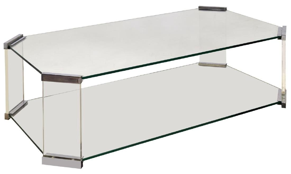 ITALIAN MODERN CHROME & GLASS SOFA TABLE