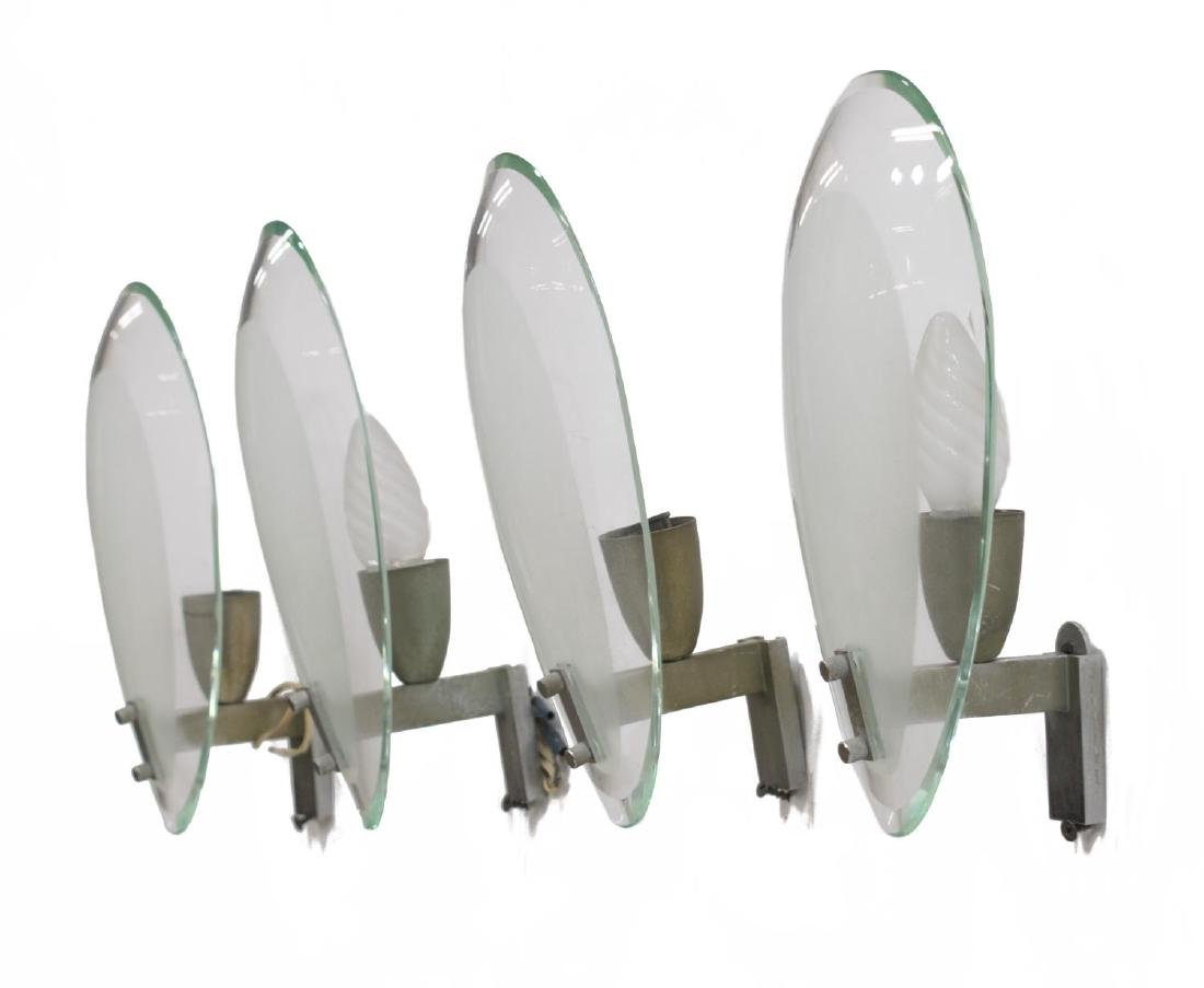 (4) ITALIAN MID-CENTURY FROSTED GLASS WALL SCONCES - 2